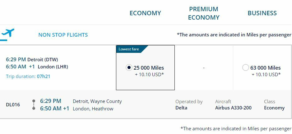 You will need 25,000 FlyingBlue miles for one way in economy.