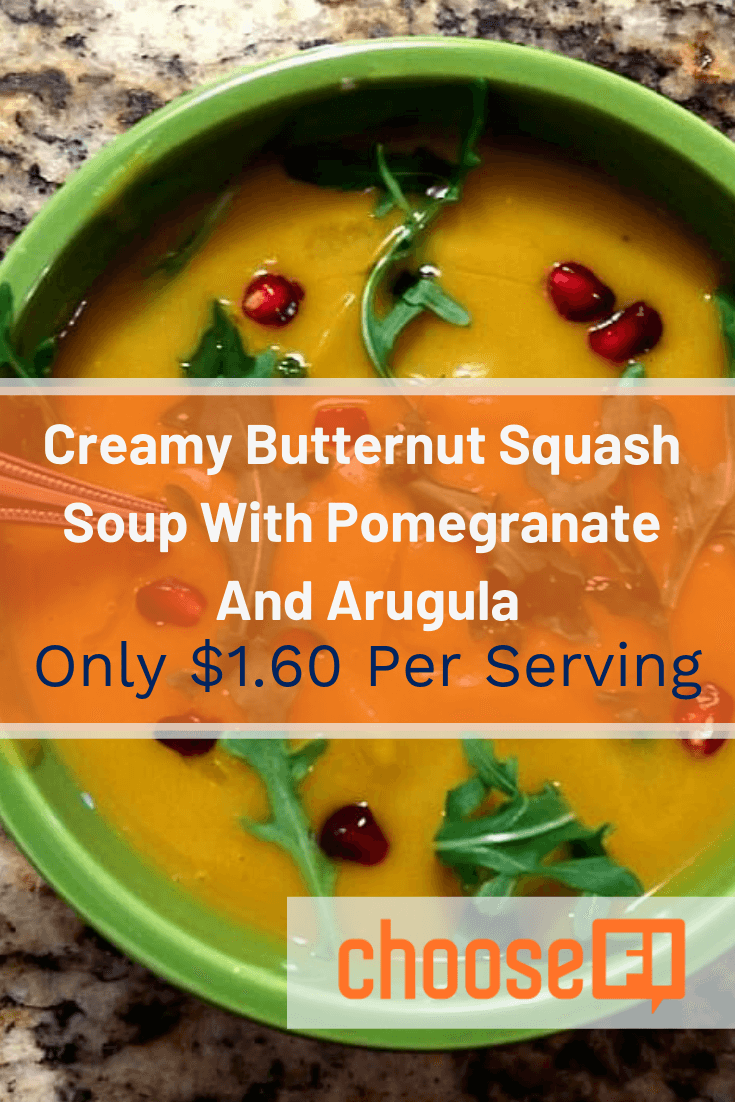 Creamy Butternut Squash Soup With Pomegranate And Arugula