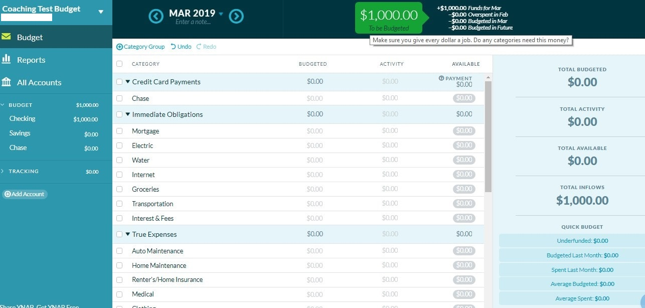 YNAB screenshot giving every dollar a job