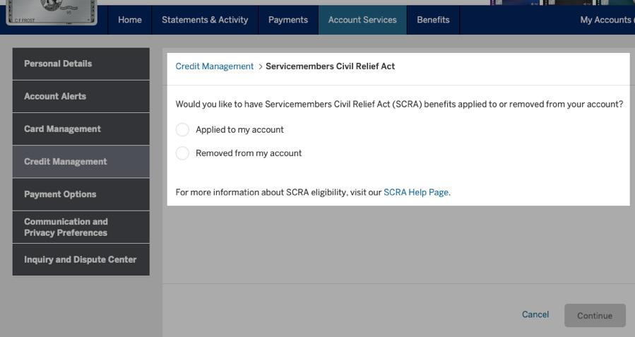 American Express SCRA Request
