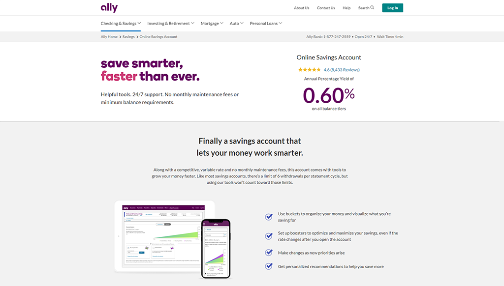 Preview of Ally online savings bank account webpage