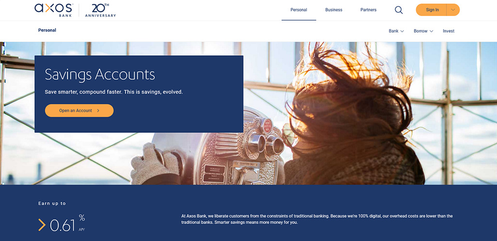 Preview of Axos savings account webpage