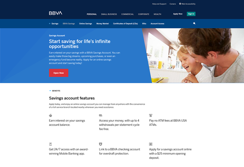 Preview of BBVA savings account webpage