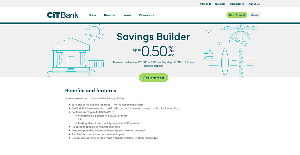 Screenshot of CIT Bank webpage