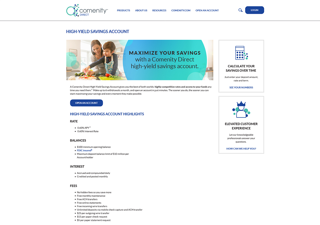 Preview of Comenity high yield savings account webpage