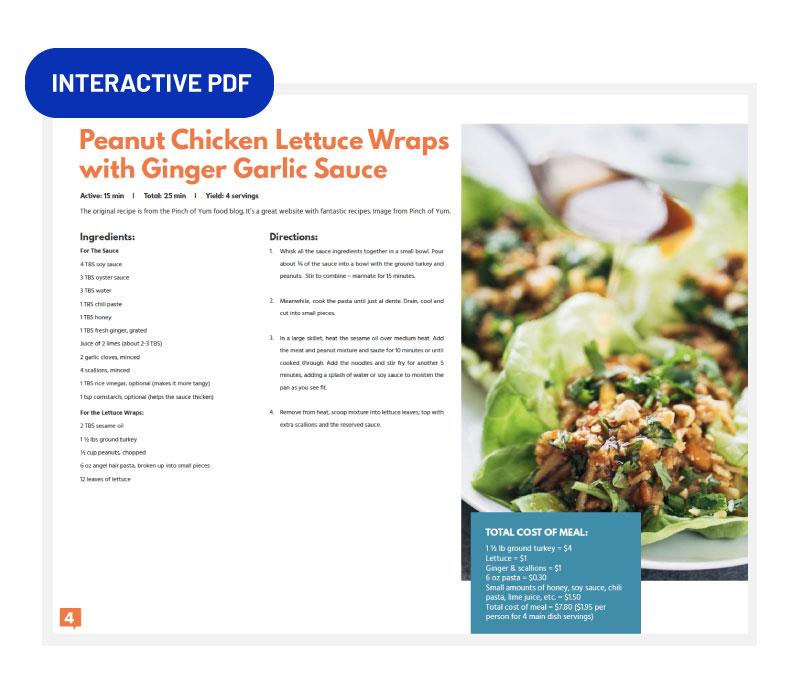 Peanut Chicken Lettuce Wraps recipe card preview.