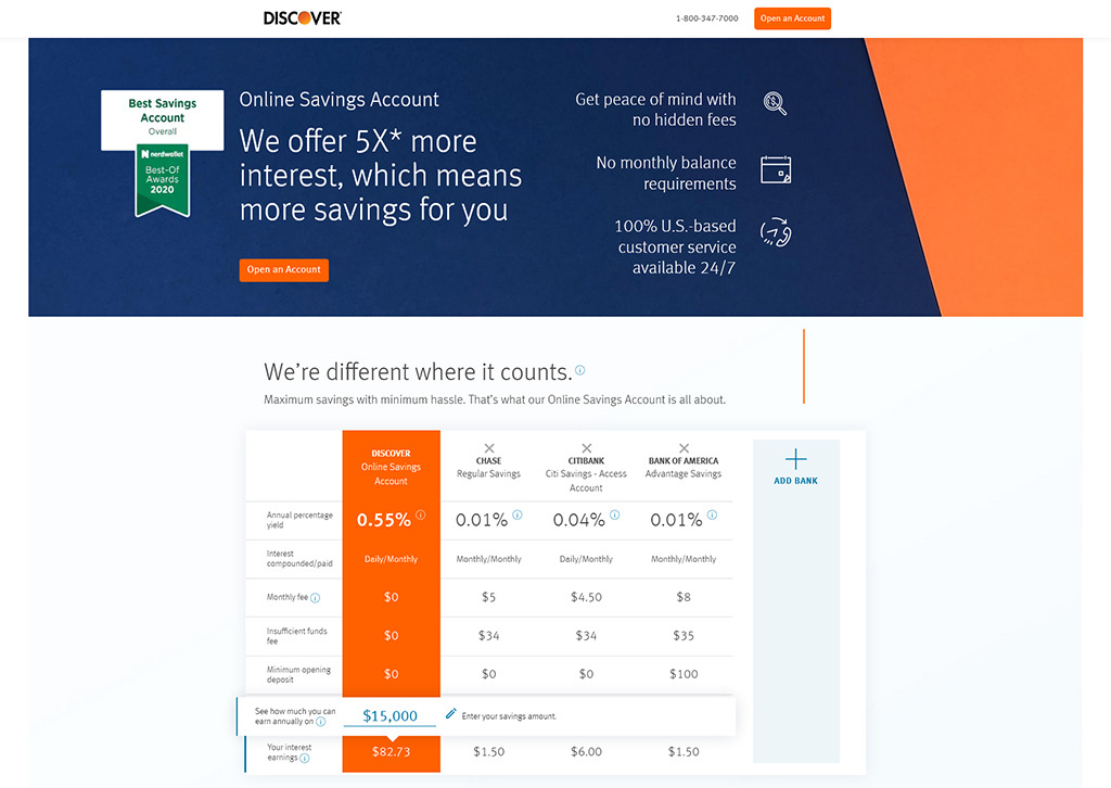 Preview of Discover online savings bank account webpage