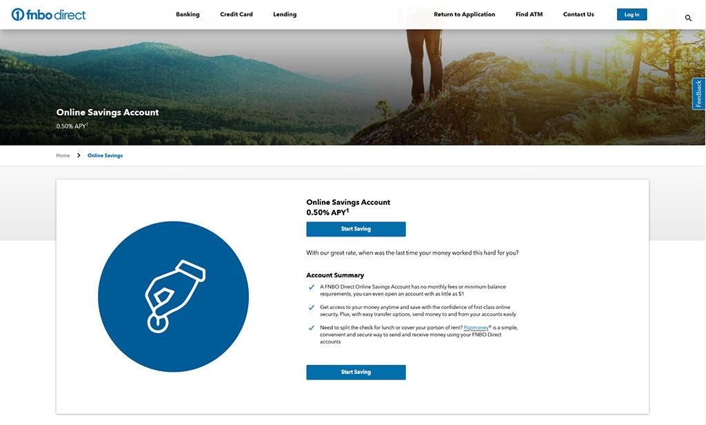 Preview of FNBO Direct online savings bank account webpage