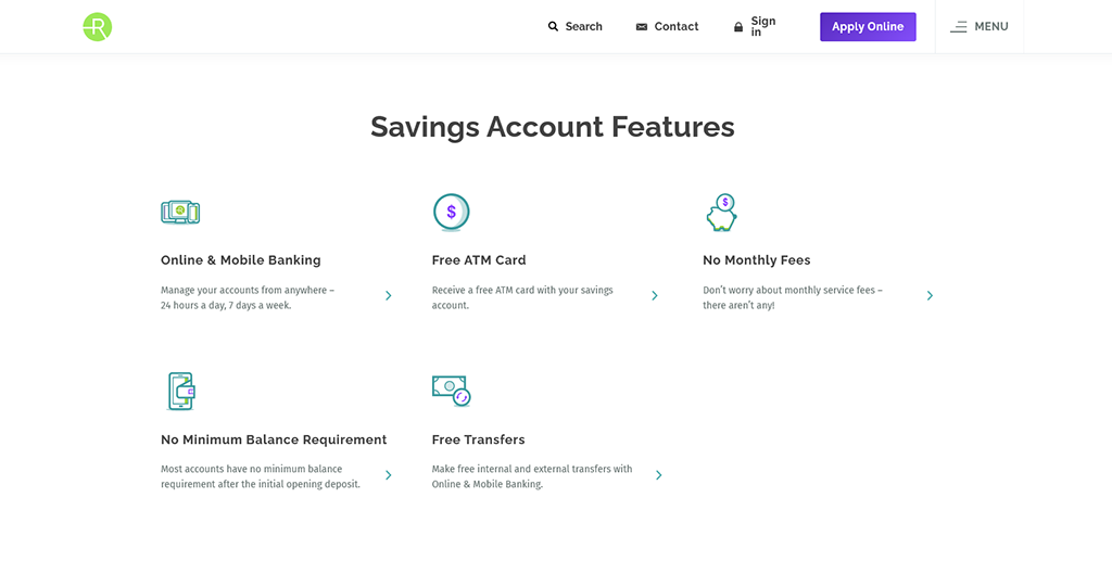 Preview of Radius online savings bank account webpage