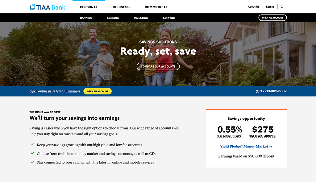 Preview of TIAA online savings bank account webpage