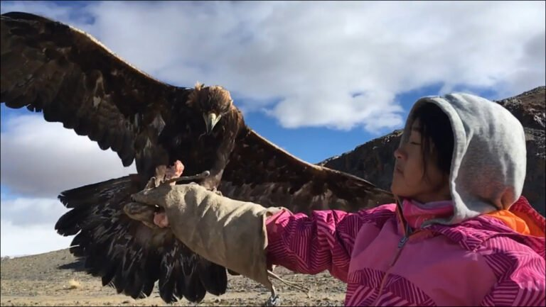 picture of golden eagle on arm of girl