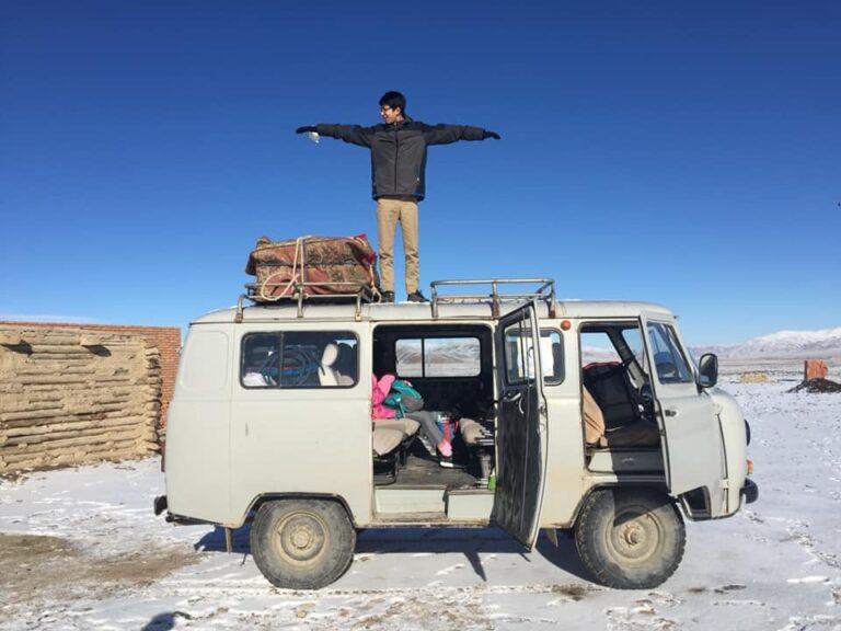 Man standing on a van