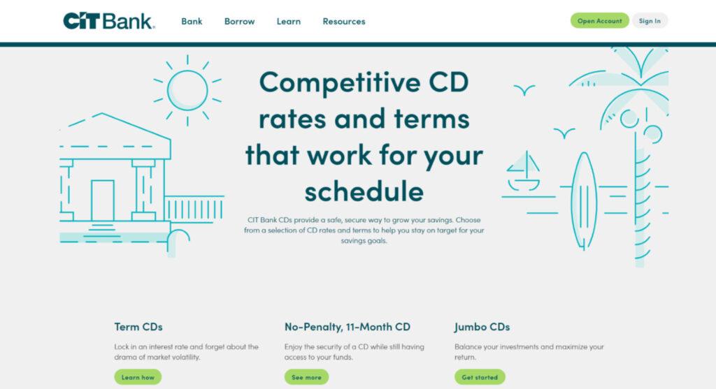screenshot of CIT Bank CD dashboard