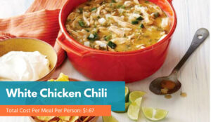 White chicken chili in a red bowl