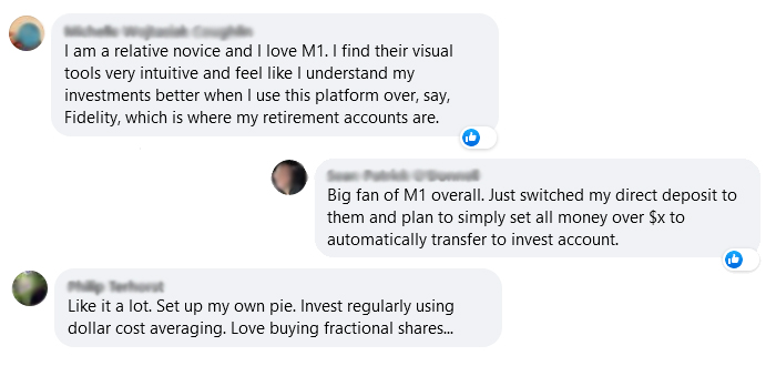 M1 Finance reviews from Facebook