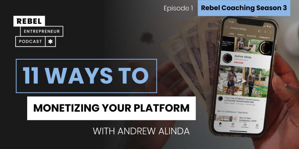 Rebel Entrepreneur Coaching Series: 11 Ways to Monetizing Your Platform Artwork